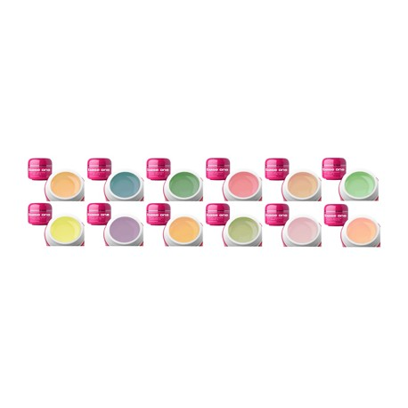 Base One - UV Gel -12-pack - Pastel Shades - 5g - Silcare
